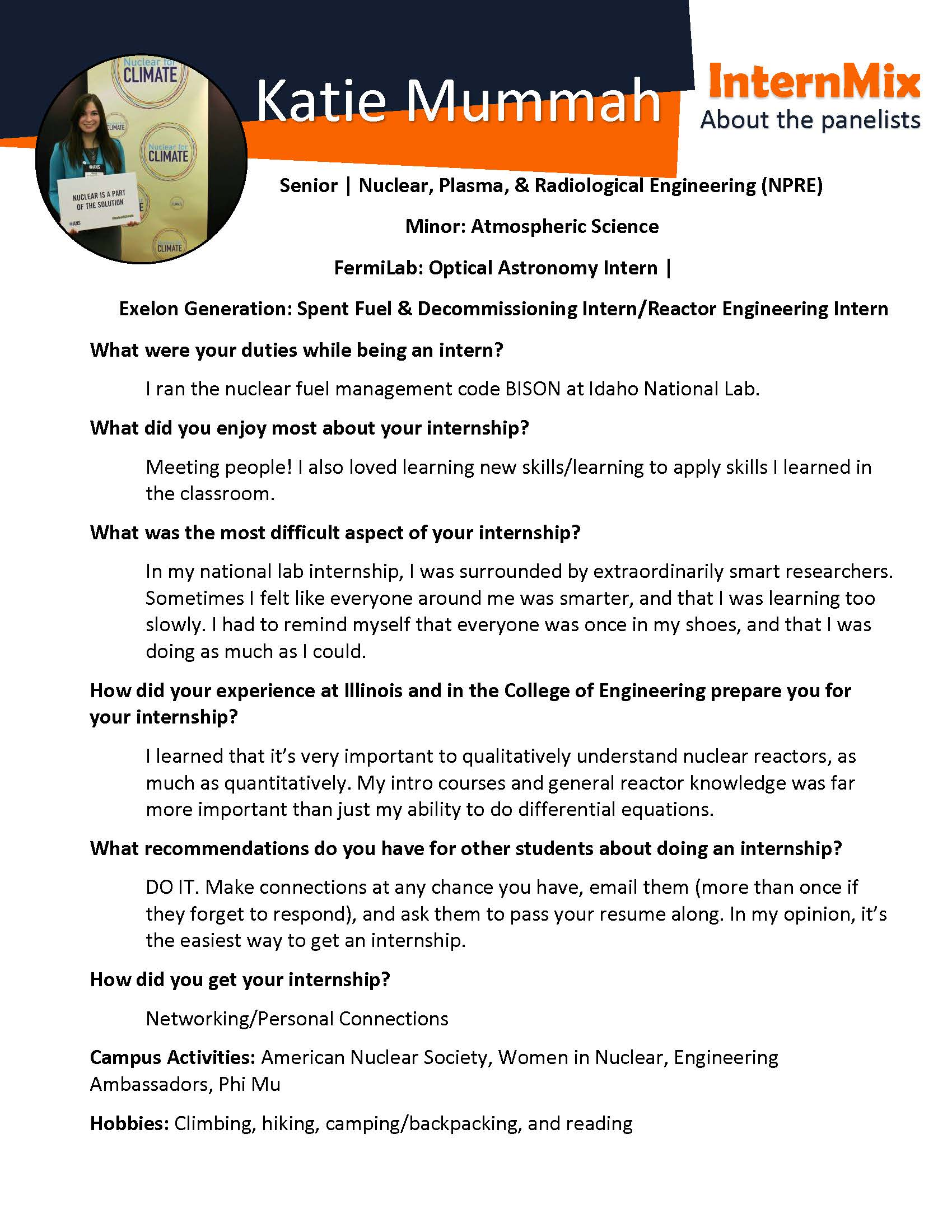 Internships co ops engineering career services click the photo below to learn more about her experience as an optical astronomy intern for fermilab and as a spent fuel decommissioning internreactor madrichimfo Choice Image